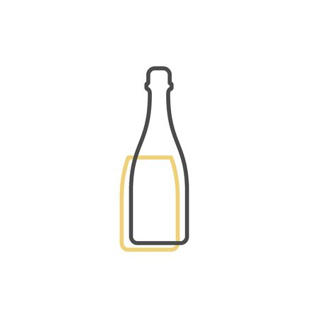 Simple line shape of champagne bottle. One contour figure of a bottle, the second drink. Outline symbol wine dark color. Sign liquid yellow. Isolated flat illustration on a white background. Иллюстрация