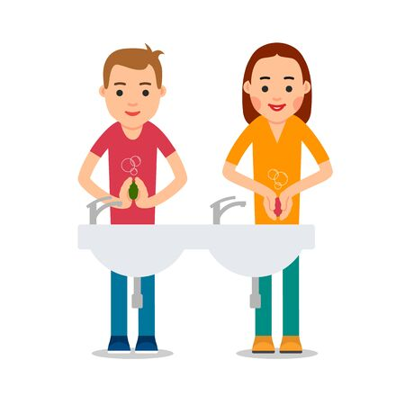 Flat illustration with man and woman virus wash hands on white background for medical design. Hand hygiene. Coronavirus prevention. Isolated. Health care. Healthy lifestyle.