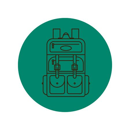 Rucksack or schoolbag with pockets and zipper element. Education and study backpack for students and traveling icon. Tourism bag. Front view. Flat line art illustration isolated on circle background. 向量圖像