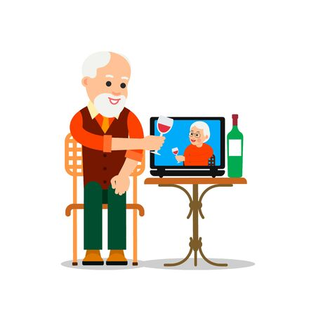 Online meeting old friends. People drink wine together in quarantine. Elderly man sitting in a chair in front of a laptop and sees a older woman on screen. Video chat. Flat isolated illustration.