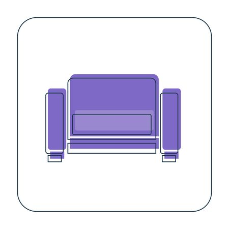 Comfortable sofa with one pillow. Image of couch in thin line art style. Element furniture of the interior. Modern stylish object for relaxation. Flat illustration with settee on white background.