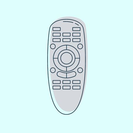 Hand remote control. Multimedia panel with shift buttons. Program device. Wireless console. Universal electronic controller. Isolated thin line illustration on color background. Flat symbol.