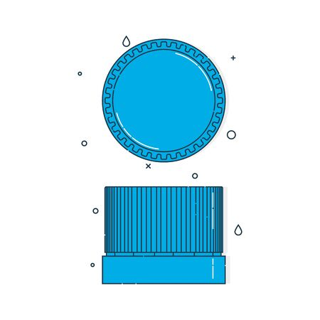 Color flat illustration with a bottle cap on a white background. Blue cover plastic cork. Isolated element. Line art design. Top and in profile view. Outline a single drink object.