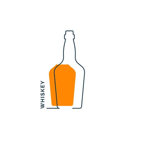 Bottle continuous line whiskey in linear style on white background. Black thin outline and color fill. Modern flat style graphic design.