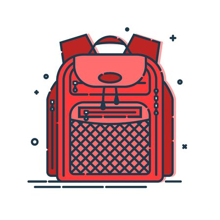 Backpack or schoolbag with pockets and zipper element. Education and study rucksack for students and traveling icon. Tourism bag. Front view. Flat line art illustration isolated on white background.