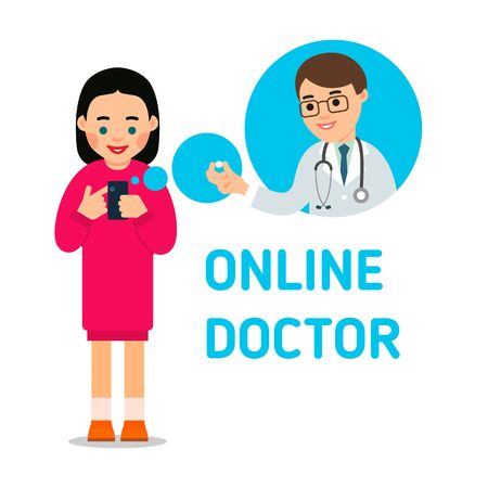 An young woman calls up a doctor. A doctor advises the patient the medicine on the phone. Health care and modern communication technology concept. Flat illustration on white background. Vettoriali
