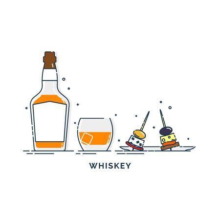 Bottle of whiskey and glass with canapes. Olive, cheese, bread, salmon or meat. Set of alcoholic drink and tapas. Isolated flat illustration. Line art design for restaurant and pub.