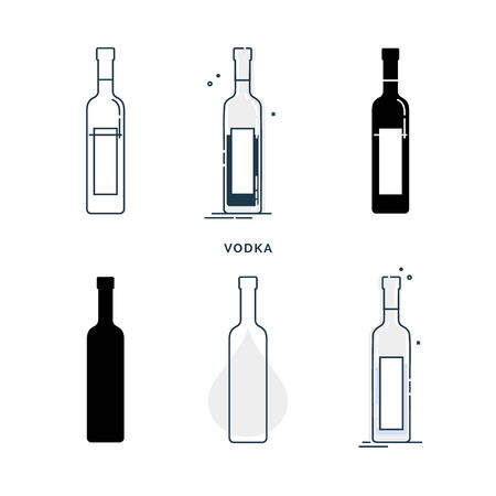 Set of bottles with vodka in different styles. Template alcohol beverage for restaurant, bar, pub. Symbol party. Collection one drink. Isolated flat illustration on white background.