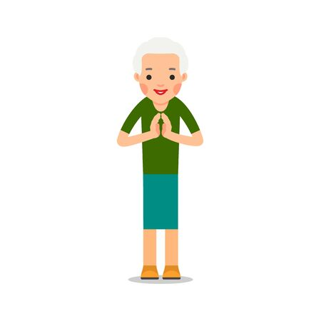 Elderly woman standing and makes greeting with his hands together to prevent transmission of viruses. Isolated vector illustration in flat style on white background. Namaste of european lady. Vettoriali
