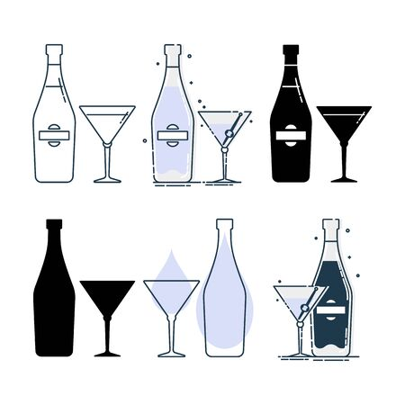 Set of bottles and glasses with martini in different styles. Template alcohol beverage for restaurant, bar, pub. Symbol party. Collection one drink. Isolated flat illustration on white background.