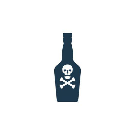Bottle poison alcohol skull in profile for concept design. Dangerous container. Potion beverage bar drink concept. Alcohol addiction icon. Venom, danger symbol. Isolated flat illustration. Vettoriali