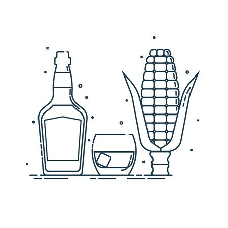 Whiskey corn produkt in glass bottle with glassware in flat style. Alcohol beverage. Great design for any purposes. Popular spirit. Isolated object on white background. Organic drink.