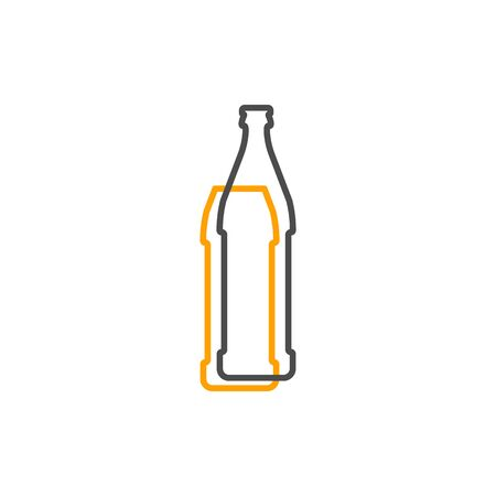 Simple line shape of beer bottle. One contour figure of a bottle, the second drink. Outline symbol wine dark color. Sign liquid yellow. Isolated flat illustration on a white background. Vettoriali