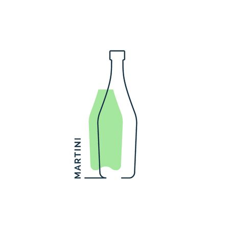 Bottle continuous line martini in linear style on white background. Black thin outline and green fill. Modern flat style graphic design. Vettoriali