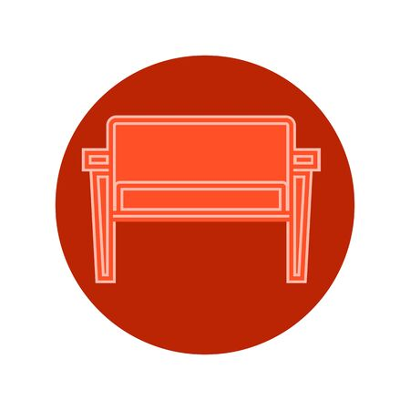 Red sofa on circle reddish background. Flat illustration in form of thin lines for interior design. Couch with three pillows and backs. Symbolic icon for comfortable seat. Vettoriali
