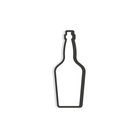 Whiskey bottle line. Simple template. Isolated object. Symbol in thin lines for alcoholic institutions, bars, restaurants, pubs and night clubs. Dark outline. Flat illustration on white background.
