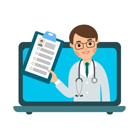Male doctor online. Consultant on screen notebook with medical card. Medical assistance, help, support network. Isolated illustration in flat style on white background. Modern consultashion service. Vettoriali