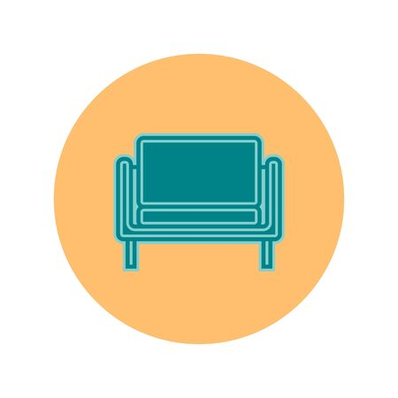Blue sofa on circle yellow background. Flat illustration in form of thin lines for interior design. Couch with three pillows and backs. Symbolic icon for comfortable seat.