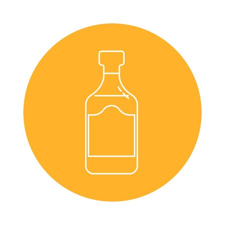Illustration of bottle  in flat style in form of thin lines. Vettoriali