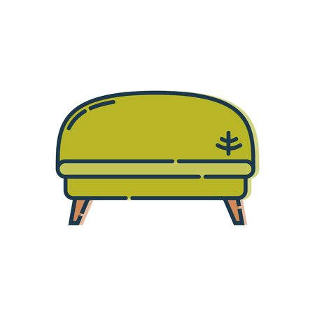 Comfortable sofa with one pillow. Image of couch in line art style. Element furniture of the interior. Modern stylish object for relaxation. Flat illustration with settee on white background.