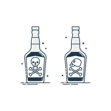 Bottle poison alcohol skull for concept design. Dangerous container. Potion beverage bar drink concept. Alcohol addiction icon. Venom, danger symbol.