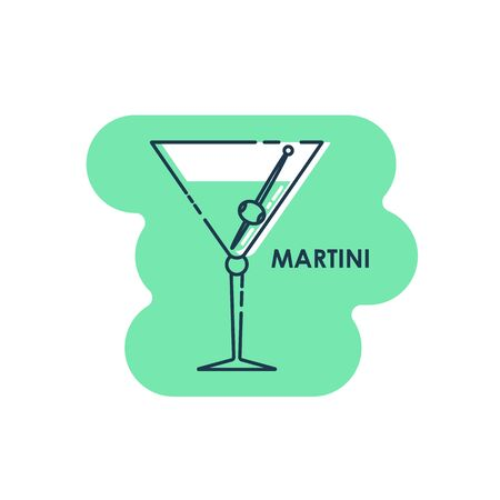Wineglass martini with olive line art in flat style. Isolated on colored shape as background. Restaurant alcoholic illustration for celebration design. Contour element. Beverage outline icon.