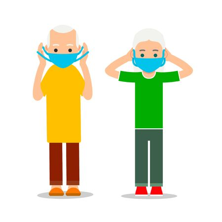 Elderly man and woman put on virus mask.  Health care. Healthy lifestyle during an outbreak of virus infection. Respiratory protection.