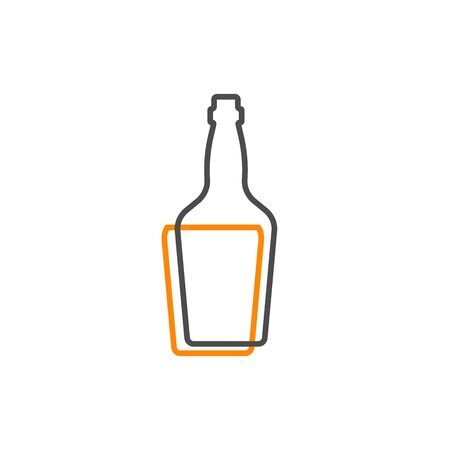 Simple line shape of whiskey bottle. One contour figure of a bottle, the second drink. Outline symbol whisky dark color. Sign liquid yellow. Isolated flat illustration on a white background.