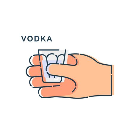 Male hand holding a glass of vodka. Line art design element on white background. Fingers human with a stack with strong alcohol. Concept of time to drink alcohol. Modern graphic style illustration.