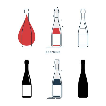 Set of bottles with red wine in different styles. Template alcohol beverage for restaurant, bar, pub. Symbol party. Collection one drink. Isolated flat illustration on white background. Vettoriali