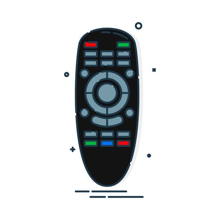 Hand remote control. Multimedia panel with shift buttons. Program device. Wireless console. Universal electronic controller. Color isolated flat illustration on white background. Vettoriali