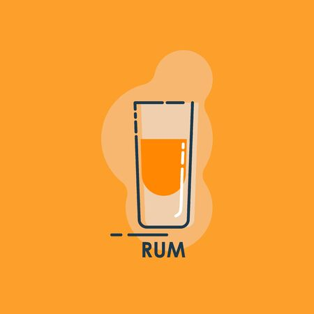 Shot rum line art in flat style. Restaurant alcoholic illustration for celebration design. Design contour element. Beverage outline icon. Isolated on color background in graphic style.