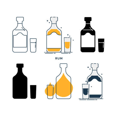 Set of bottles and glasses with rum in different styles. Template alcohol beverage for restaurant, bar, pub. Symbol party. Collection one drink. Isolated flat illustration on white background.