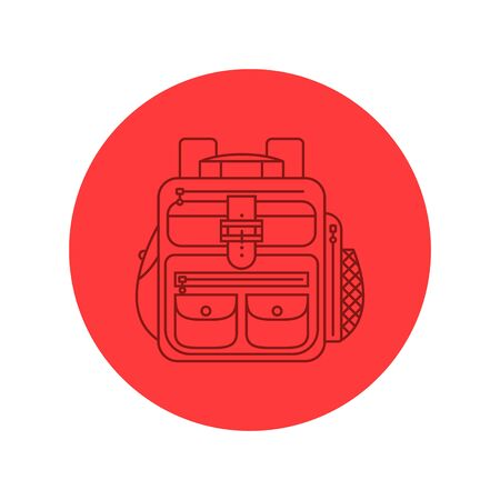 Rucksack or schoolbag with pockets and zipper element. Education and study backpack for students and traveling icon. Tourism bag. Front view. Flat line art illustration isolated on circle background. Vettoriali