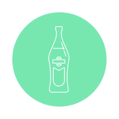 Illustration of bottle of vermouth in flat style in form of thin lines. In the form of background is circle of color drinks. Isolated object design beverage. Simple icon for restaurant, pub, party.