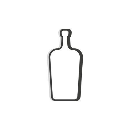 liquor bottle line. Simple template. Isolated object. Symbol in thin lines for alcoholic institutions, bars, restaurants, pubs and night clubs. Dark outline. Flat illustration on white background.