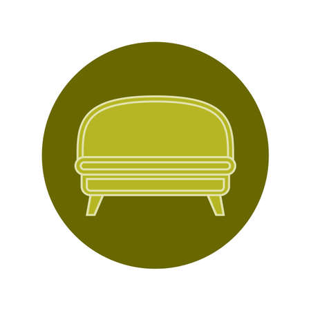 Green sofa on circle verdant background. Flat illustration in form of thin lines for interior design. Couch with three pillows and backs. Symbolic icon for comfortable seat. Vettoriali