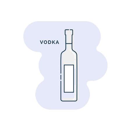 Bottle vodka line art in flat style. Restaurant alcoholic illustration for celebration design. Design contour element. Beverage outline icon. Isolated on shape background in graphic style. Ilustracja