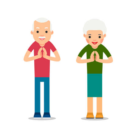 Elderly man and woman standing and makes greeting with his hands together to prevent transmission of viruses. Isolated illustration in flat style on white background. Namaste of european people. Illustration