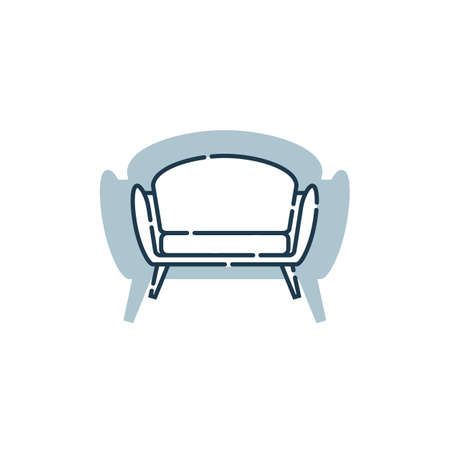 Comfortable sofa with one pillow. Flat illustration with settee on shape background. Modern stylish object for relaxation. Image of couch in line art style. Element furniture of the interior.