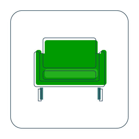 Comfortable sofa with one pillow. Element furniture of the interior. Image of couch in thin line art style. Modern stylish object for relaxation. Flat illustration with settee on white background.