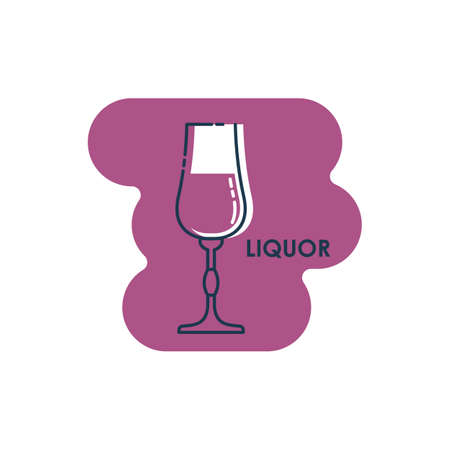 Wineglass liquor line art in flat style. Isolated on colored shape as background. Restaurant alcoholic illustration for celebration design. Contour element. Beverage outline icon.
