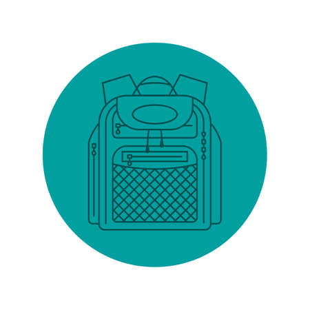 Rucksack or schoolbag with pockets and zipper element. Education and study backpack for students and traveling icon. Tourism bag. Front view. Flat line art illustration isolated on circle background. Illustration