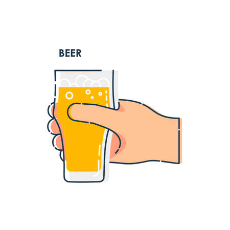 Male hand holding a glass of beer. Line art design element on white background. Fingers human with a tumbler foamy beverage. Concept of time to drink alcohol. Modern graphic style illustration. Illusztráció