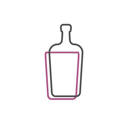 Simple line shape of liquor bottle. One contour figure of a bottle, the second drink. Outline symbol whisky dark color. Sign liquid yellow. Isolated flat illustration on a white background. Vettoriali