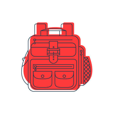 Rucksack or schoolbag with pockets and zipper element. Education and study backpack for students and traveling icon. Tourism bag. Front view. Flat line art illustration isolated on white background. Vettoriali