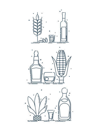 Raw material alcoholic drinks. Products for manufacture of alcoholic beverages. Isolated illustration in flat style on white background for banner design. Icon bottle glass object. Illustration