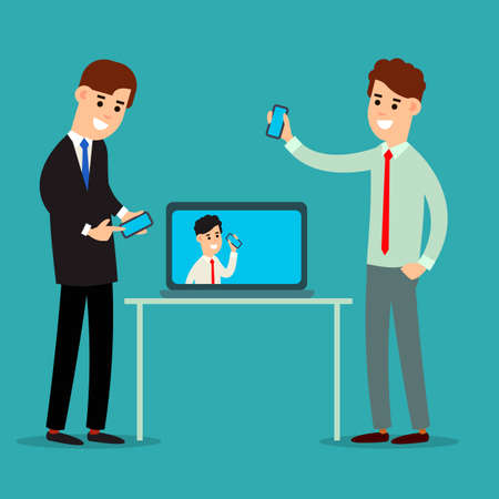 Two businessman working in office showing information on the smartphone screen. Manager in touch with colleagues on a laptop screen. Using phone in business communication. Flat isolated illustration. Vettoriali