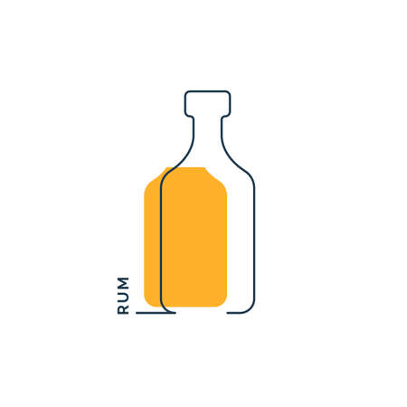 Bottle continuous line rum in linear style on white background. Black thin outline and color fill. Modern flat style graphic design. Logo element illustration. Contour drink symbol. Vettoriali