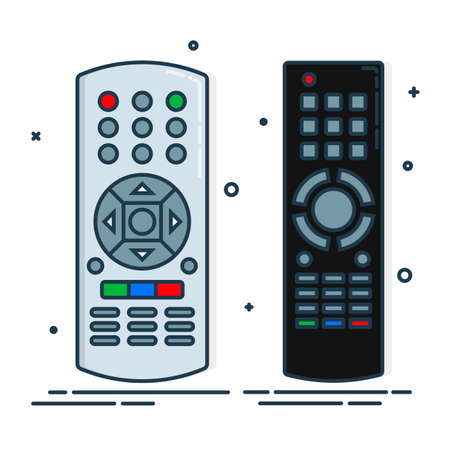 Hand remote control. Multimedia panel with shift buttons. Two design options. Program device. Wireless console. Universal electronic controller. Color isolated flat illustration on white background. Vettoriali